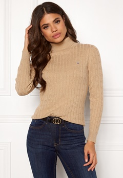 GANT Stretch Cotton Cable Turtle Neck 287 Sand Melange Bubbleroom.fi
