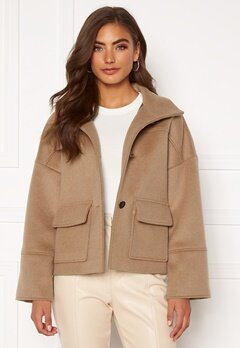 GANT Wool Blend Cropped Jacket 213 Warm Khaki Bubbleroom.fi