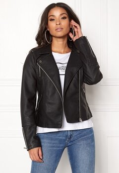 ONLY Gemma Faux Leather Biker Black Bubbleroom.fi