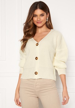 Girl In Mind Aria 3 Button Long Sleeve Knit Cardigan Creme Bubbleroom.fi