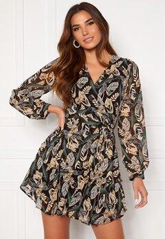 Girl In Mind Camila Long Sleecve Chiffon Mini Dress Black Leaf Bubbleroom.fi