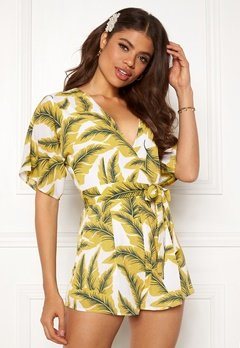 Girl In Mind Cecilla V Neck Playsuit Yellow Palm Bubbleroom.fi