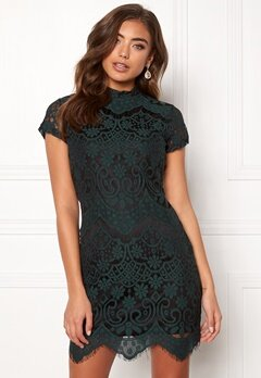 Girl In Mind Emilia Lace Mini Dress Bottle Green Bubbleroom.fi