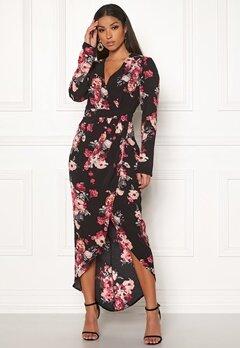 Girl In Mind Indie Wrap Floral Dress Black Bubbleroom.fi
