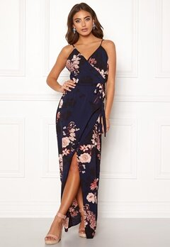 Girl In Mind Mia Wrap Maxi Dress Navy Bubbleroom.fi