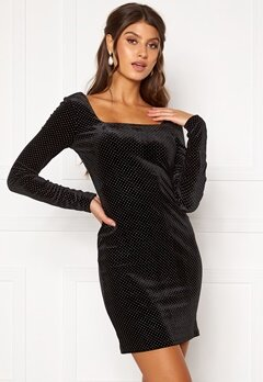 Girl In Mind Naomi Silver Dot Dress Black Bubbleroom.fi