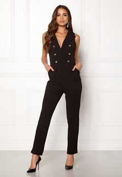 Girl In Mind Tailored V Neck Jumpsuit Black Bubbleroom.fi