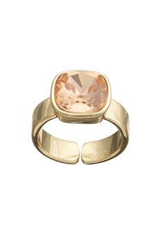 BY JOLIMA Glam Crystal Ring Crystal Gold Bubbleroom.fi