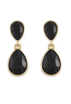 BY JOLIMA Glam Double Drop Earring Black/Gold Bubbleroom.fi