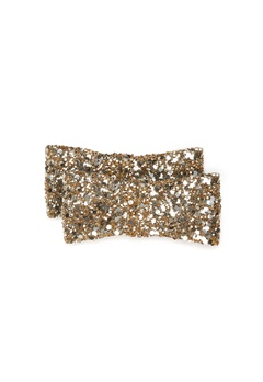Heelow Glitter Bow Clips Guld Bubbleroom.fi
