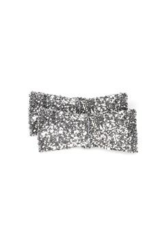 Heelow Glitter Bow Clips Silver Bubbleroom.fi