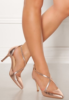 SARGOSSA Glitzy Leather Heels Rose Gold Bubbleroom.fi