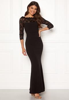 Goddiva 3/4 Lace Trim Maxi Dress Black Bubbleroom.fi