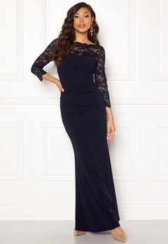 Goddiva 3/4 Lace Trim Maxi Dress Navy Bubbleroom.fi