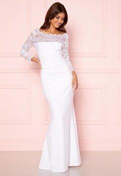 Goddiva 3/4 Lace Trim Maxi Dress White Bubbleroom.fi