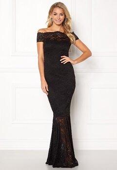 Goddiva Bardot Lace Maxi Dress Black Bubbleroom.fi