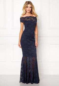Goddiva Bardot Lace Maxi Dress Navy Bubbleroom.fi