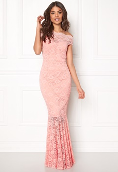 Goddiva Bardot Lace Maxi Dress Pink Bubbleroom.fi