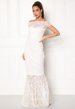 Goddiva Bardot Lace Maxi Dress White Bubbleroom.fi