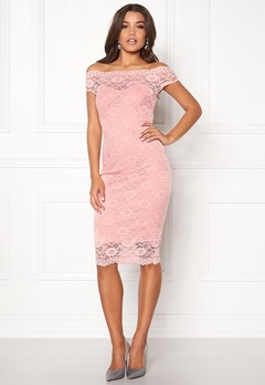 Goddiva Bardot Lace Midi Dress Pink Bubbleroom.fi