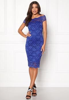Goddiva Bardot Lace Midi Dress Royal Blue Bubbleroom.fi