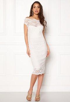 Goddiva Bardot Lace Midi Dress White Bubbleroom.fi