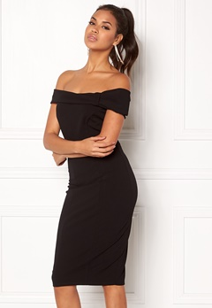 Goddiva Bardot Midi Dress Bow Black Bubbleroom.fi