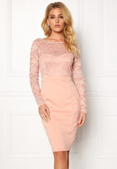 Goddiva Bardot Midi Dress Bow Nude Bubbleroom.fi