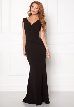Goddiva Bardot Pleat Maxi Dres Black Bubbleroom.fi
