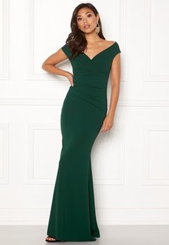 Goddiva Bardot Pleat Maxi Dress Emerald Bubbleroom.fi
