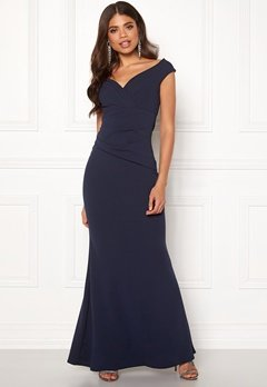 Goddiva Bardot Pleat Maxi Dress Royal Blue Bubbleroom.fi