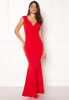 Goddiva Bardot Pleat Maxi Dress Red Bubbleroom.fi