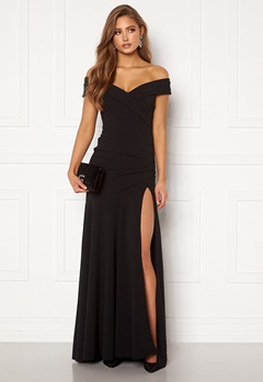 Goddiva Bardot Pleat Maxi Split Dress Black Bubbleroom.fi