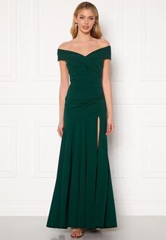 Goddiva Bardot Pleat Maxi Split Dress Emerald Bubbleroom.fi