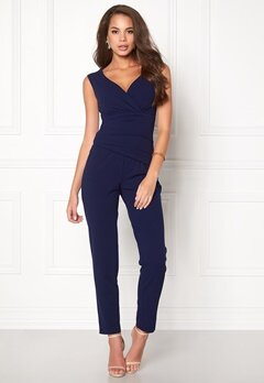 Goddiva Bardot Pleated Jumpsuit Navy Bubbleroom.fi