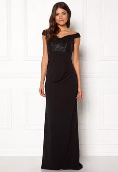 Goddiva Bardot Sequin Maxi Dress Black Bubbleroom.fi