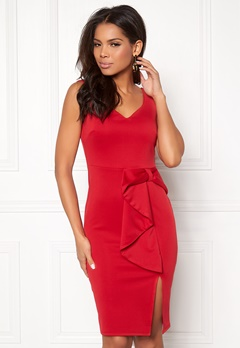 Goddiva Bow Detail Midi Dress Red Bubbleroom.fi