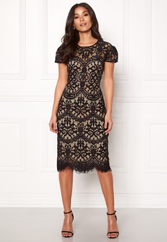 Goddiva Cap Sleeve Lace Dress Black/nude Bubbleroom.fi