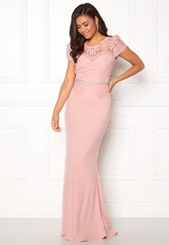 Goddiva Cap Sleeve Lace Dress Blush Bubbleroom.fi