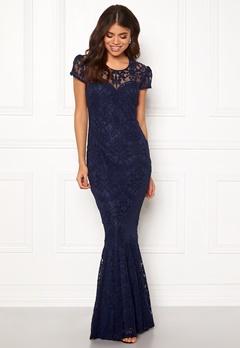 Goddiva Cap Sleeve Lace Dress Navy Bubbleroom.fi