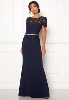 Goddiva Cap Sleeve Lace Dress Navy Bubbleroom.fi