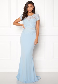 Goddiva Cap Sleeve Lace Dress Powder Blue Bubbleroom.fi