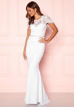 Goddiva Cap Sleeve Wedding Dress White Bubbleroom.fi