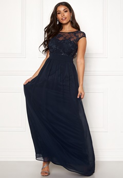 Goddiva Chiffon Maxi Flower Dress Navy Bubbleroom.fi