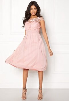 Goddiva Chiffon Midi Flower Dress Rose Bubbleroom.fi