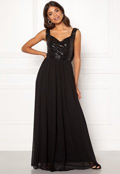 Goddiva Cowl Back Sequin Dress Black Bubbleroom.fi