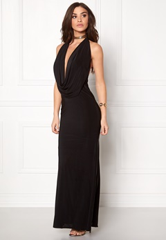 Goddiva Cowl Neck Maxi Dresss Black Bubbleroom.fi