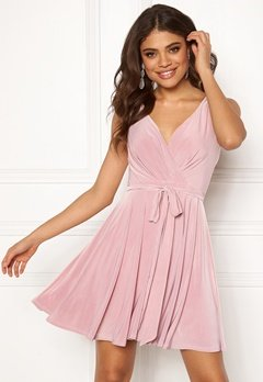 Goddiva Cross Over Skater Dress Dusty Pink Bubbleroom.fi