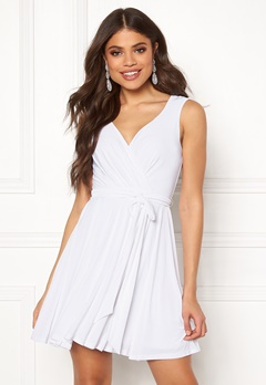 Goddiva Cross Over Skater Dress White Bubbleroom.fi