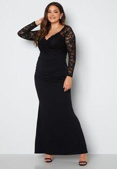 Goddiva Curve Long Sleeve Lace Trim Maxi Dress Black bubbleroom.fi